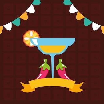 Cocktail e pimenta com guirlandas