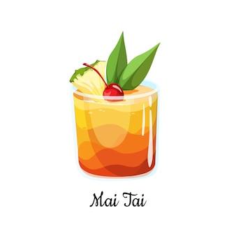Cocktail mai tai em estilo cartoon para menu, cartões de coquetel. cocktail clássico contemporâneo. longdrink. coquetel tiki popular da bebida em estilo polinésio com uma fatia de abacaxi. ícone de bebida de verão.