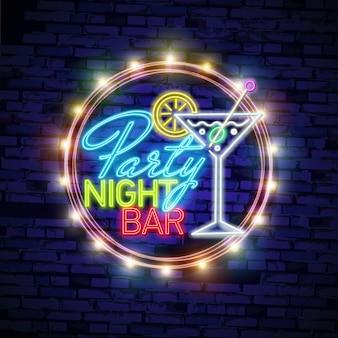 Cocktail sinal de néon, tabuleta brilhante, tabuleta brilhante