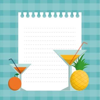 Cocktails de abacaxi laranja e design de papel