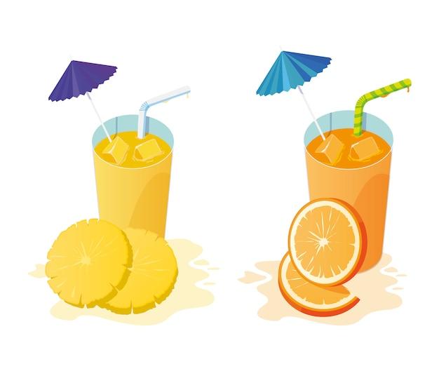 Cocktails de frutas frescas de abacaxi e suco de laranja