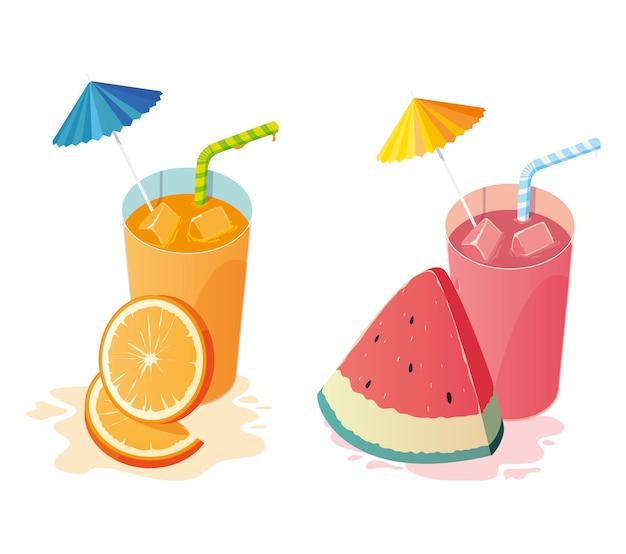 Cocktails de frutas frescas de suco de laranja e melancia