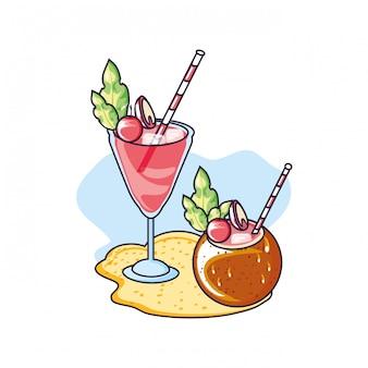 Cocktails de verão de coco e cereja