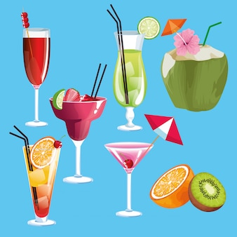 Cocktails de verão e conjunto de frutas