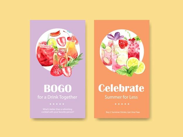 Cocktails de verão para modelos de histórias do instagram
