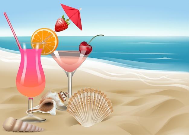 Cocktails e conchas no fundo da praia