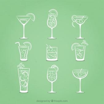 Cocktails esboçado ícones