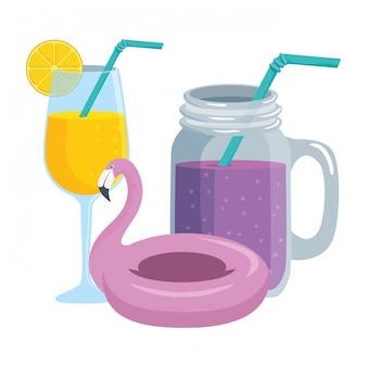 Cocktails tropicais de verão e float flamengo