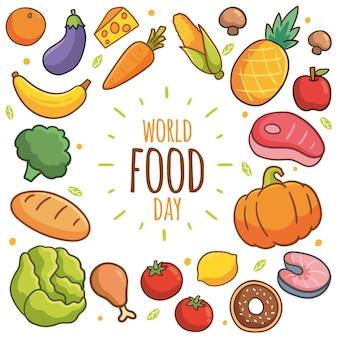 Cocnept de evento do dia mundial da alimentação desenhado à mão