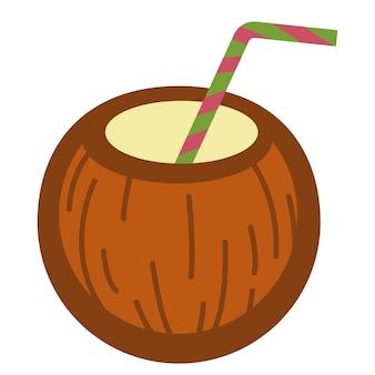 Coco com canudo servido de bebida. ícone isolado de bebida tropical, coquetel ou leite derramado na casca da fruta. férias de verão, símbolo do calor e do verão. comida deliciosa, vetor em apartamento