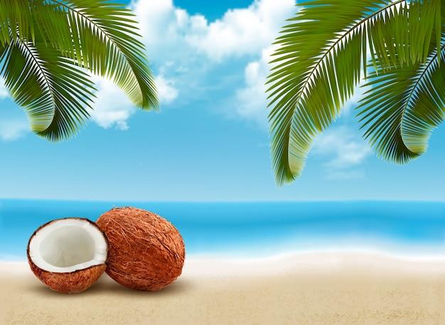Coco com folhas de palmeira. cena de férias de verão.