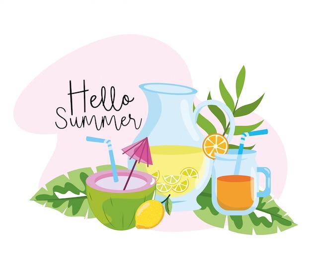 Coco com limonada e suco de laranja no verão