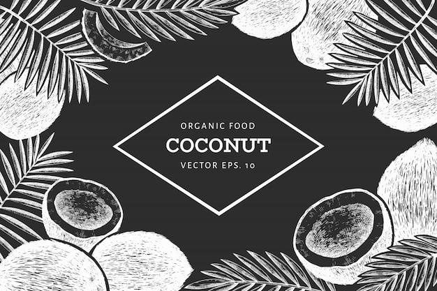 Coco com modelo de design de folhas de palmeira. mão desenhada comida ilustração no quadro de giz. planta exótica de estilo gravado. fundo tropical botânico retrô.