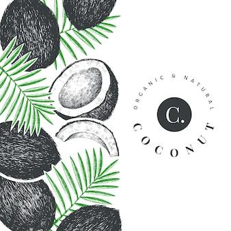 Coco com modelo de design de folhas de palmeira.