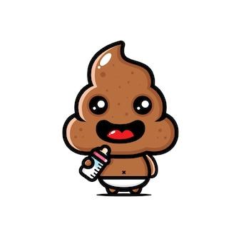Cocô de bebê fofo está bebendo leite