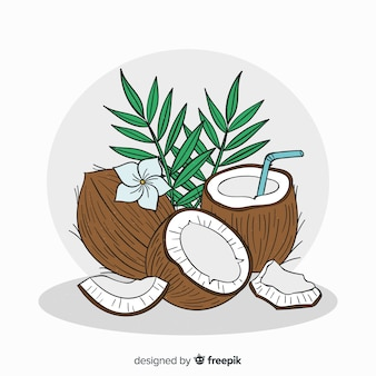 Coco desenhado de mão com fundo de folhas