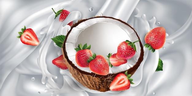Coco e morangos em um fundo leitoso.