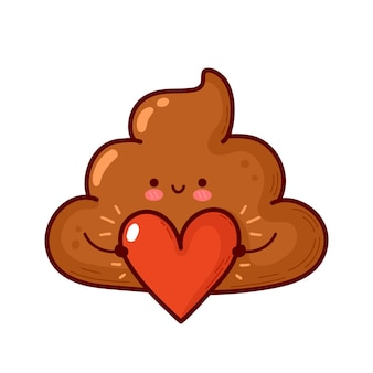 Cocô engraçado bonito com coração. feliz dia dos namorados cartão. ícone de ilustração do vetor linha plana dos desenhos animados do personagem kawaii. conceito de cocô de dia dos namorados. isolado em fundo branco