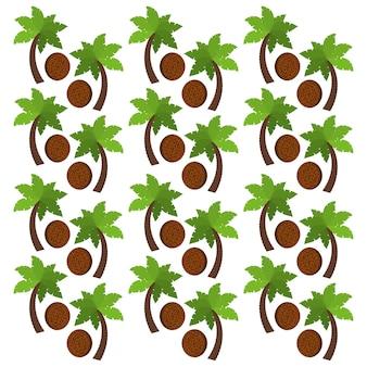 Coco frutas e palmeiras fundo design