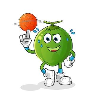 Coco jogando mascote do basquete