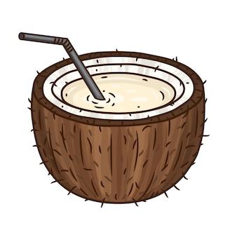 Coco marrom com um tubo de cocktail em branco