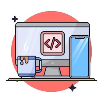 Codificação com ilustração para desktop e telefone celular