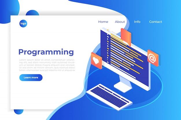 Codificação, desenvolvimento de software, conceito isométrico de programação