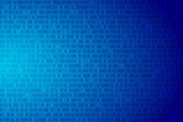Código binário abstrato fundo gradiente azul escuro.