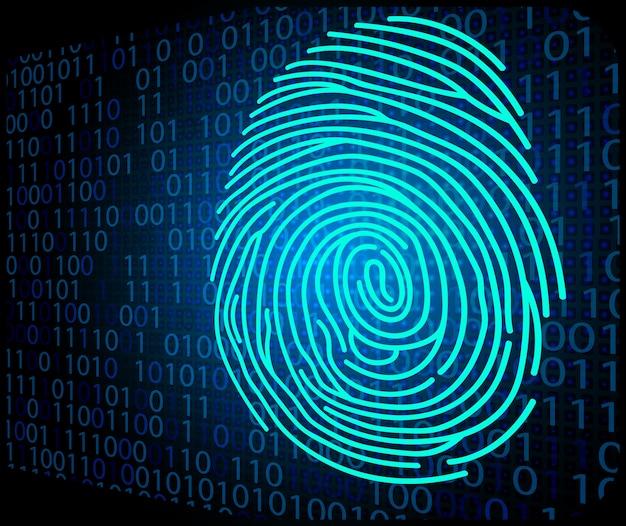 Código binário de fundo de digitalização de impressões digitais