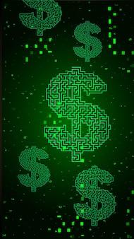 Código binário digital em fundo verde com dólares
