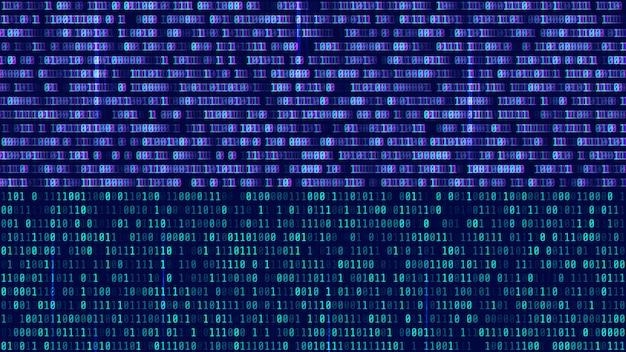 Código binário, dígitos azuis na tela do computador