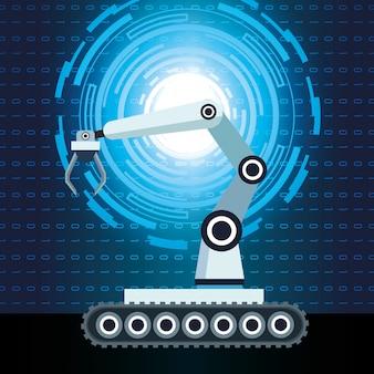 Código binário do braço robótico da tecnologia de inteligência artificial