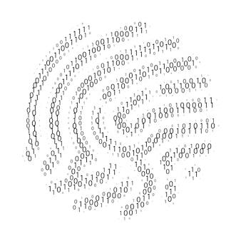 Código binário por formato de impressão digital. conjunto de zero e um dígitos. tecnologia de segurança cibernética. informações de verificação digital. dígitos pretos sobre fundo branco. ilustração vetorial