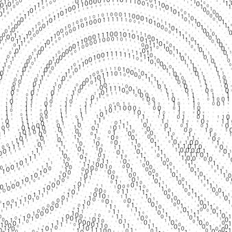 Código binário por formato de impressão digital. tecnologia de segurança cibernética. informações de verificação digital. dígitos pretos sobre fundo branco. ilustração vetorial