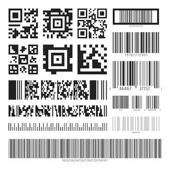 Código de barras e conjunto de códigos qr