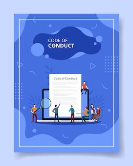 Código de conduta pessoas sentadas em frente a um grande laptop, cartaz.