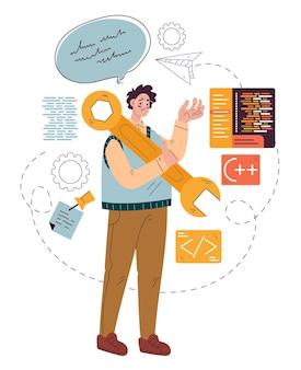 Código de desenvolvimento de caráter de trabalhador freelance programador