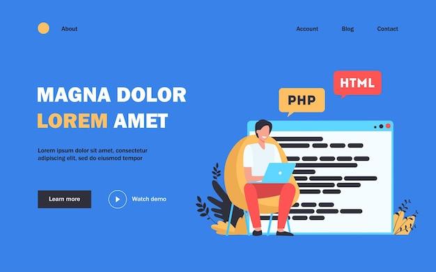 Código de escrita do desenvolvedor para a página de destino do site