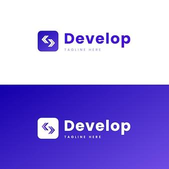 Código de gradiente e logotipo de desenvolvimento