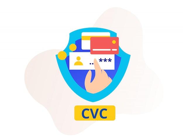 Código de verificação de segurança cvc ou cartão smartphone e escudo