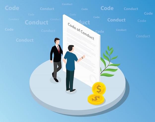 Código isométrico de conceito de conduta com o homem de negócios em pé