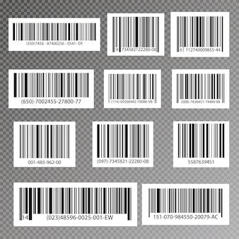 Código listrado preto para identificação digital, ícone de código de barras realista.