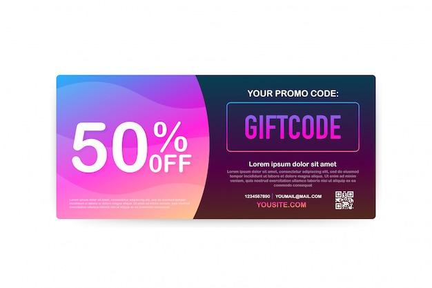 Código promocional. vale-presente com código de cupom. fundo premium de cartão egift para comércio eletrônico, compras on-line. marketing. ilustração.
