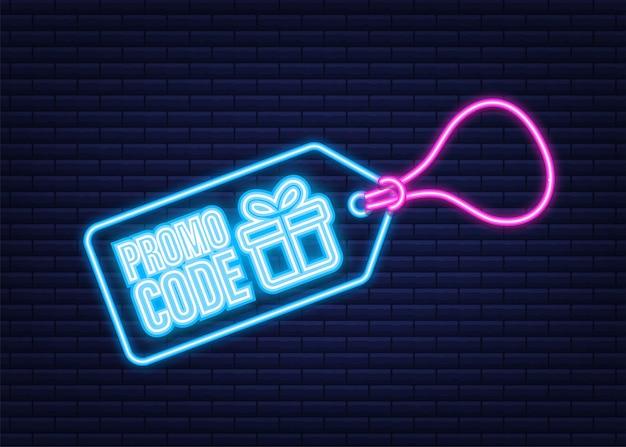 Código promocional. voucher de oferta de vetor com código de cupom. fundo de cartão de e-brindes premium para comércio eletrônico, compras online. ícone de néon. ilustração vetorial.
