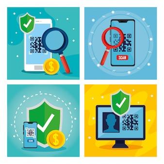Código qr dentro de smartphones lupe escudo e computador vector design
