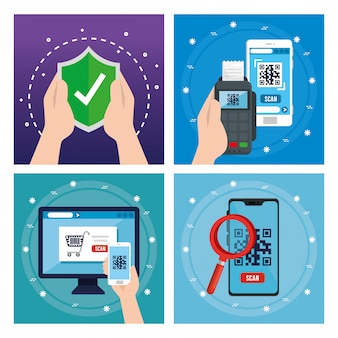 Código qr dentro do smartphone computador dataphone e escudo vector design