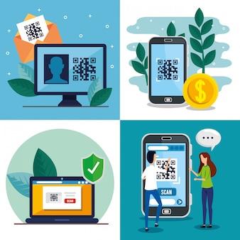 Código qr dentro smartphone computador portátil mulher e homem vector design
