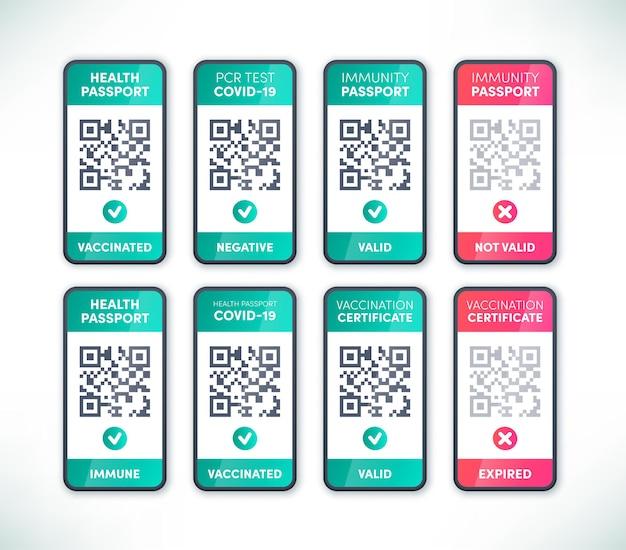 Código qr do passaporte digital de saúde na tela do smartphone definir vetor. certificado eletrônico de imunidade de vacinação covid-19 válido e expirado para entrada segura em viagens, restaurantes e cafés. app coronavirus pass