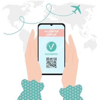 Código qr do passaporte do certificado de vacinação sobre um vacinado contra covid19