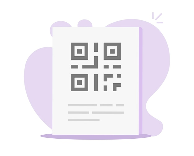 Código qr no ícone da página de informações do documento em papel